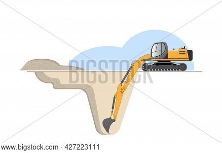 An Excavator At A Construction Site Digs A Foundation Pit. Flat Vector Illustration