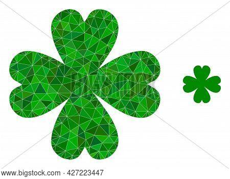 Triangle Four Leaf Clover Polygonal Icon Illustration. Four Leaf Clover Lowpoly Icon Is Filled With