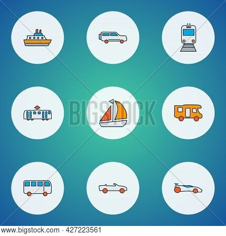 Vehicle Icons Colored Line Set With Bus, Train, Campervan And Other Tramway Elements. Isolated Vecto