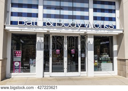 Plainfield - Circa July 2021: Bath & Body Works Store. Bath & Body Works Specializes In Shower And B