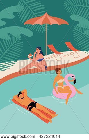A Girl And A Man Swim In The Pool On An Inflatable Ring And A Mattress. A Girl Sits Near The Pool An