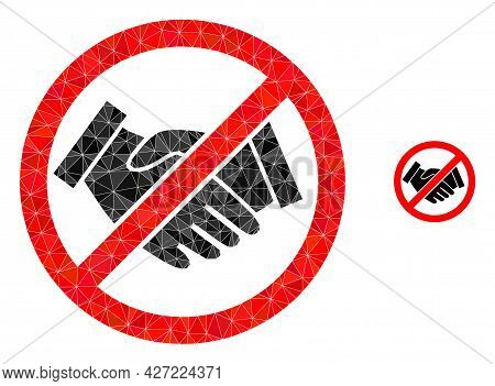 Triangle Forbidden Handshake Polygonal Symbol Illustration. Forbidden Handshake Lowpoly Icon Is Fill