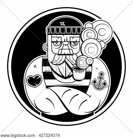Vector Hand Drawn Illustration Of Captain With Pipe. Tattoo Artwork In Realistic Style With Handwrit