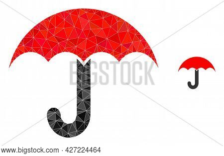 Triangle Umbrella Polygonal Icon Illustration. Umbrella Lowpoly Icon Is Filled With Triangles. Flat