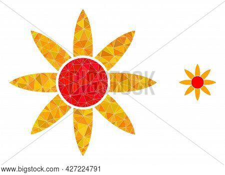 Triangle Sun Shine Polygonal Icon Illustration. Sun Shine Lowpoly Icon Is Filled With Triangles. Fla