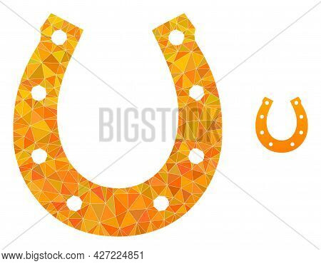 Triangle Lucky Horseshoe Polygonal Icon Illustration. Lucky Horseshoe Lowpoly Icon Is Filled With Tr