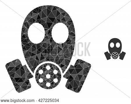 Triangle Gas Mask Polygonal Symbol Illustration. Gas Mask Lowpoly Icon Is Filled With Triangles. Fla