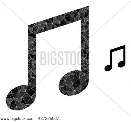 Triangle Music Notes Polygonal Symbol Illustration. Music Notes Lowpoly Icon Is Filled With Triangle
