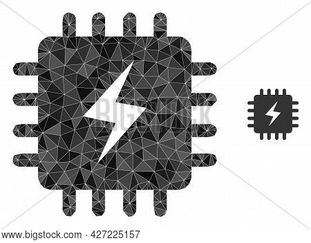 Triangle Power Chip Polygonal Icon Illustration. Power Chip Lowpoly Icon Is Filled With Triangles. F