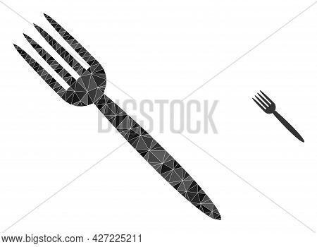 Triangle Fork Polygonal Icon Illustration. Fork Lowpoly Icon Is Filled With Triangles. Flat Filled G