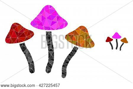 Triangle Psychedelic Mushrooms Polygonal Icon Illustration. Psychedelic Mushrooms Lowpoly Icon Is Fi