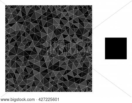 Triangle Square Polygonal Icon Illustration. Square Lowpoly Icon Is Filled With Triangles. Flat Fill