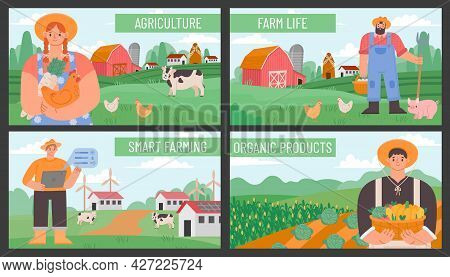 Farm Banners. Posters With Countryside Agriculture Landscape And Farmers. Smart And Eco Farming Tech