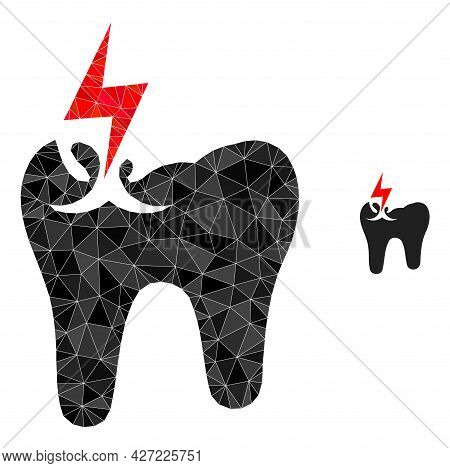 Triangle Tooth Crash Polygonal Symbol Illustration. Tooth Crash Lowpoly Icon Is Filled With Triangle