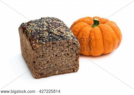 Homemade  Pumpkin Wholemeal Bread With Chia Seed And Millet Groats Isolated On White
