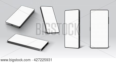 Mobile Phone Mockup. Realistic Smartphone Device With Empty Screen In Lying And Standing Side And Fr