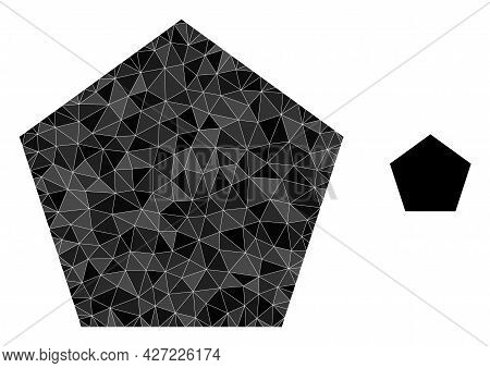 Triangle Pentagon Polygonal Symbol Illustration. Pentagon Lowpoly Icon Is Filled With Triangles. Fla