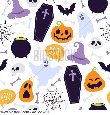 Halloween Seamless Pattern. Cartoon Scary Ghosts, Orange Pumpkins, Bones, Witch Hat, Coffin And Skul