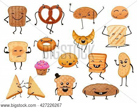 Bread Characters. Funny Cartoon Bakery Products, Loaves, Toasts And Sweet Pastry. Breakfast Croissan