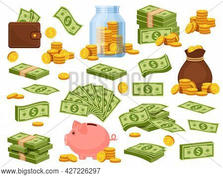 Cartoon Money Bag And Piles. Piggy Bank, Banknote Packs, Wallet With Dollar Bills, Gold Stacks And S