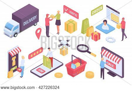 Isometric E-commerce. Customers Shopping In Online Store And Paying With Card. Delivery By Truck, Dr