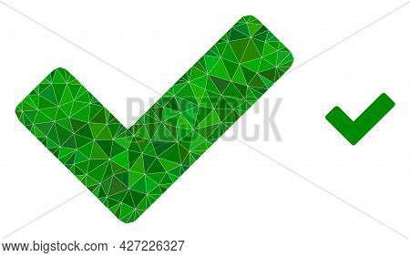 Triangle Ok Sign Polygonal Icon Illustration. Ok Sign Lowpoly Icon Is Filled With Triangles. Flat Fi