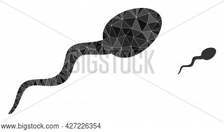 Triangle Sperm Polygonal Icon Illustration. Sperm Lowpoly Icon Is Filled With Triangles. Flat Filled