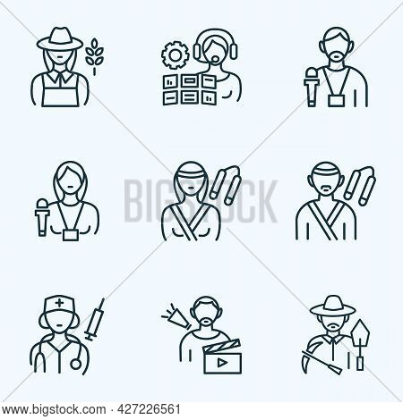 Person Icons Line Style Set With Operator Woman, Doctor Woman, Archaeologist And Other Journalist Wo