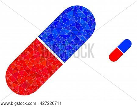 Triangle Medical Pill Polygonal Icon Illustration. Medical Pill Lowpoly Icon Is Filled With Triangle