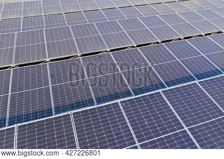 Drone fly over solar panel