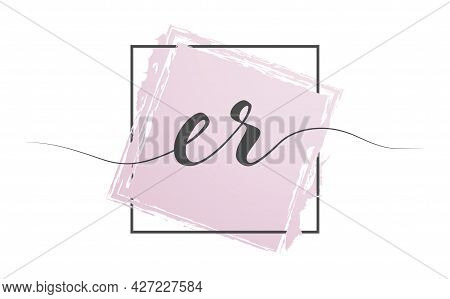 Calligraphic Lowercase Letters Er In A Single Line On A Colored Background In A Frame. Vector Illust
