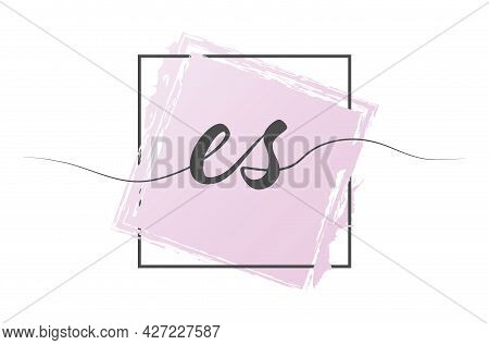 Calligraphic Lowercase Letters Es In A Single Line On A Colored Background In A Frame. Vector Illust