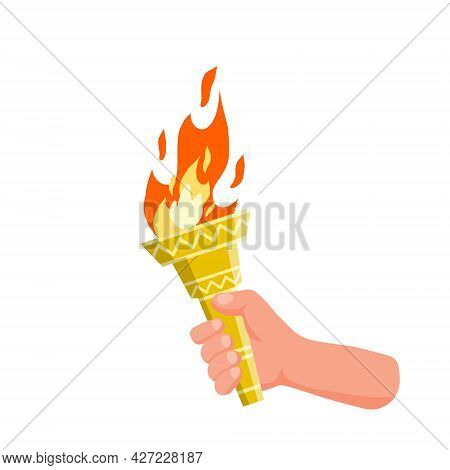 Hand Holding Torch. Symbol Of Olympic Flame And Sports. Education And Lighting. Flat Cartoon Illustr