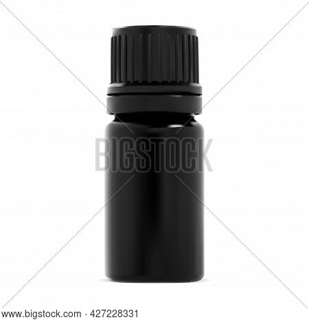 Essential Oil Bottle. Small Black Glass Bottle Mockup. Lavender Aroma Oil Flask, Realistic Apothecar
