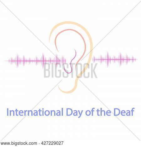 Ear And Sound Waves On International Day Of The Deaf, Vector Art Illustration.