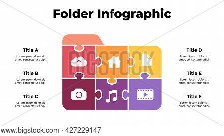 Puzzle Folder Icon Illustration. Infographic Slide Template. File Manager Presentation Slide. User I