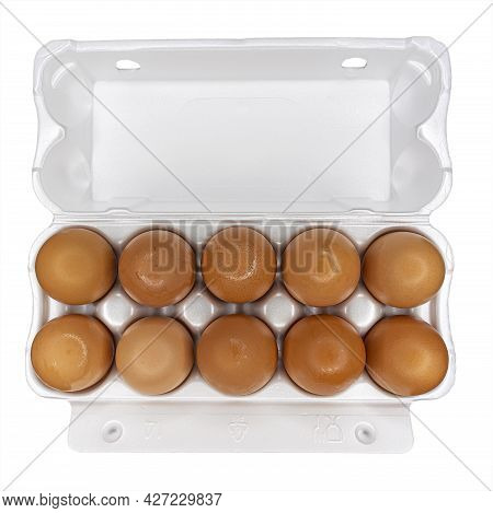 Eggs In Polymer Packaging Isolated On A White Background. Ten Chicken Eggs Per Pack.