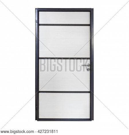 White Metal Front Door To The House Isolated On White Background. Interior Side Of White Entrance Do