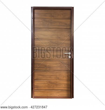 Brown Metal Front Door Isolated On White Background. The Inner Side Of The Entry Front Door.