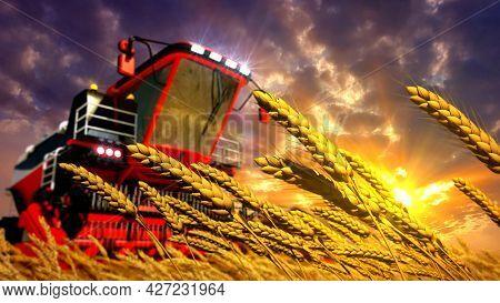Combine On Rye Or Wheat Field On Sunrise , Fictional Cgi Industrial 3d Illustration