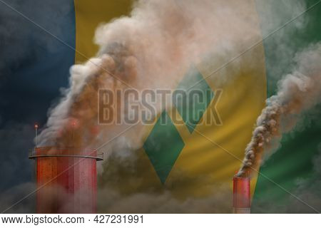 Dense Smoke Of Factory Pipes On Saint Vincent And The Grenadines Flag - Global Warming Concept, Back