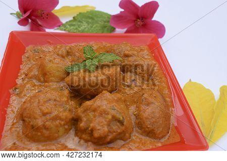 Popular Punjabi North Indian Side Dish Dum Aloo With Gravy. Indian Food Recipe Baby Potato Vegetable