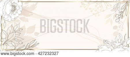 Luxurious Pastel Wallpaper. Beige Background And Watercolor Stains. Pastel Leaves Wall Art With A Sh