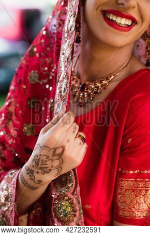 Cropped View Of Cheerful Indian Bride In Headscarf