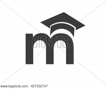 Education Logo With M Letter Hat Concept. Graduation Logo With M Letter Vector