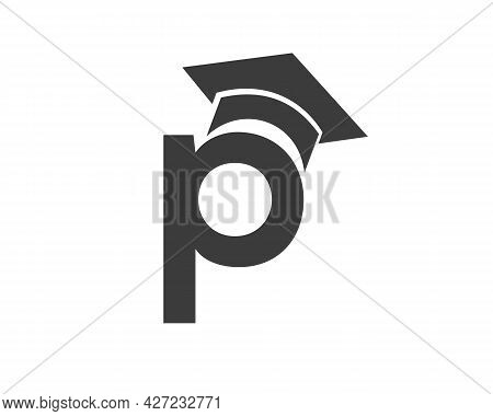 Education Logo With P Letter Hat Concept. Graduation Logo With P Letter Vector