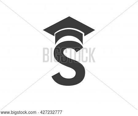 Education Logo With S Letter Hat Concept. Graduation Logo With S Letter Vector