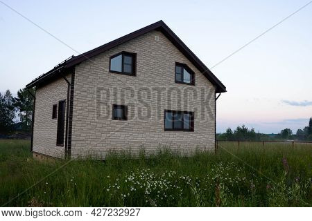 Construction Of A Traditional Russian Dacha On A Suburban Plot Of Land.