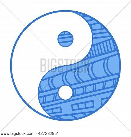 Yin And Yang. Religious Symbol. Religion. Hand Drawn Circle Sign On Isolated Background. Colorful Il