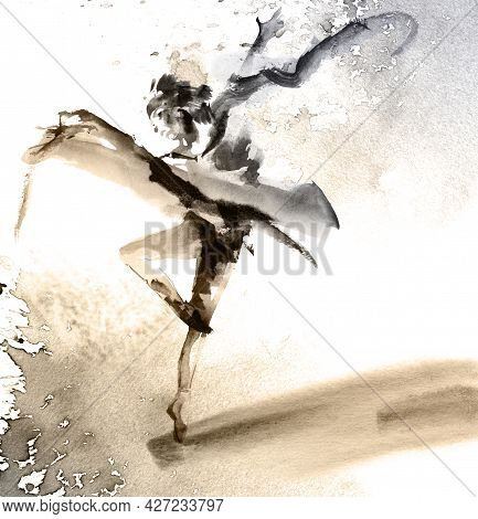 Watercolor And Ink Illustration Of Dancing Girl In Pointe. Oriental Traditional Painting In Style Su